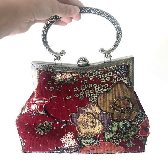 Vintage Handbags - SOLD Vintage Red Floral Beaded Mini Purse